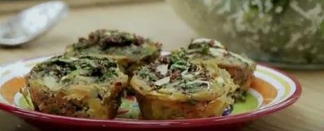 Muffin de almeirão, quinoa e abobrinha
