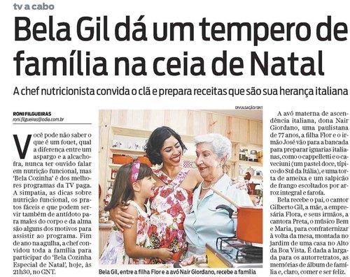 Bela Gil dá um tempero de família na ceia de Natal